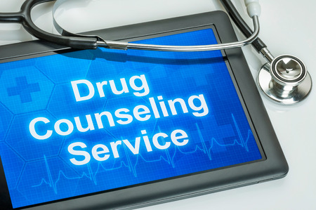 drug test: Tablet with the text Drug Counseling Service on the display
