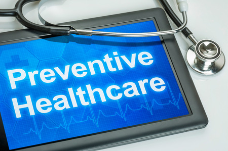 preventive medicine: Tablet with the text Preventive Healthcare on the display Stock Photo