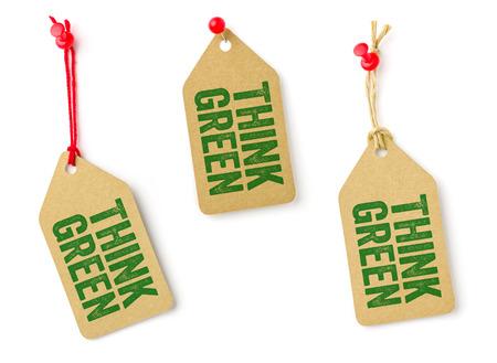 think green: Colecci�n de etiquetas con el texto Think Green Foto de archivo