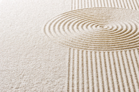 and simplicity: Sand with lines and circles Stock Photo