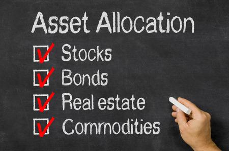 Blackboard mit dem Text Asset Allocation Standard-Bild - 31497922