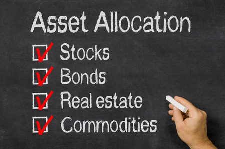 assets: Blackboard with the text Asset Allocation Stock Photo