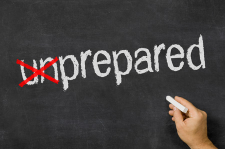 disaster preparedness: Blackboard with the text unprepared
