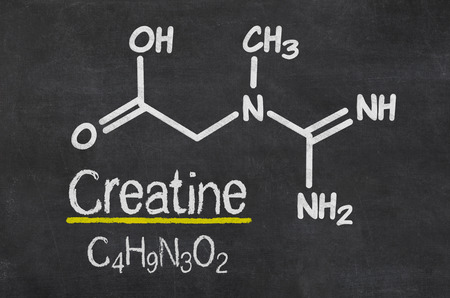 Blackboard with the chemical formula of creatine Stock Photo