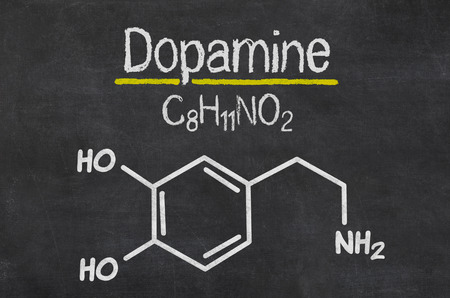 Blackboard with the chemical formula of dopamine Imagens