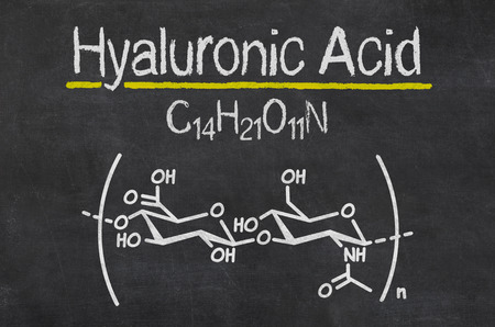 connective tissue: Blackboard with the chemical formula of hyaluronic acid Stock Photo