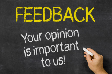 an opinion: Feedback - Your opinion is important to us Stock Photo