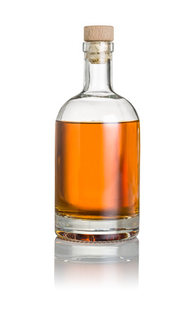 Whisky bottle on a white background Banco de Imagens