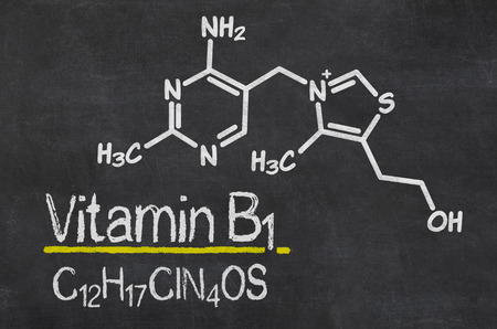 Blackboard with the chemical formula of Vitamin B1