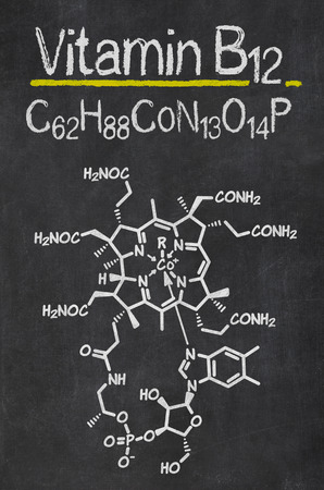 blackboard: Blackboard with the chemical formula of Vitamin B12