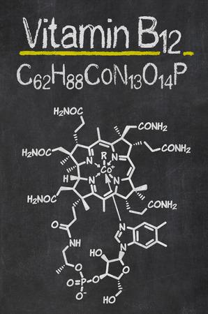 Bord met de chemische formule van vitamine B12