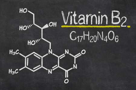 chemical formula: Blackboard with the chemical formula of Vitamin B2