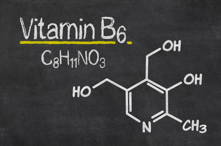 histamine: Blackboard with the chemical formula of Vitamin B6