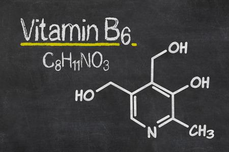 neuropathy: Blackboard with the chemical formula of Vitamin B6