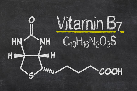 biotin: Blackboard with the chemical formula of Vitamin B7
