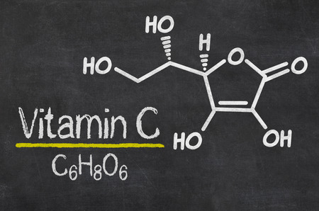 vitamin c: Blackboard with the chemical formula of Vitamin C