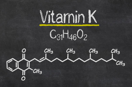 photosynthesis: Blackboard with the chemical formula of Vitamin K