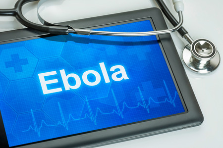 ebola: Tablet with the text Ebola on the display