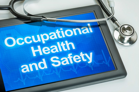health technology: Tablet with the text Occupational Health and Safety
