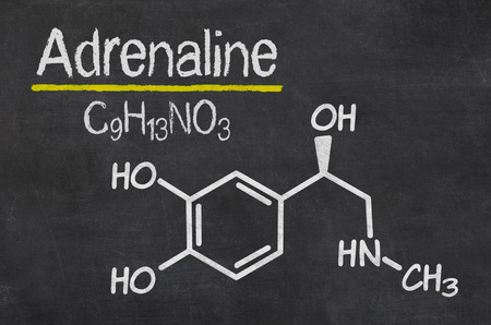 structural formula: Blackboard with the chemical formula of Adrenaline