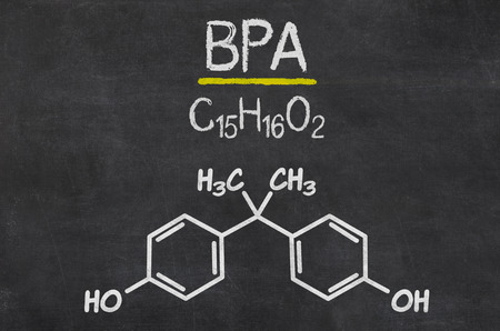 bpa: Blackboard with the chemical formula of BPA