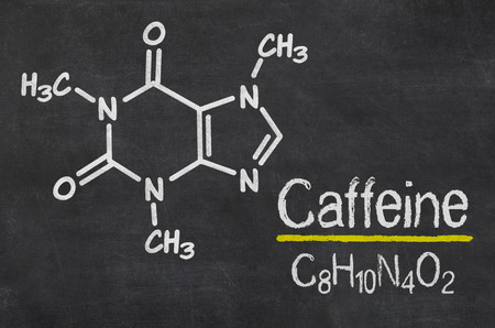 chemical formula: Blackboard with the chemical formula of Caffeine Stock Photo