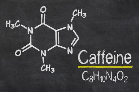 caffeine: Blackboard with the chemical formula of Caffeine Stock Photo