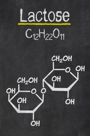 disaccharide: Blackboard with the chemical formula of Lactose