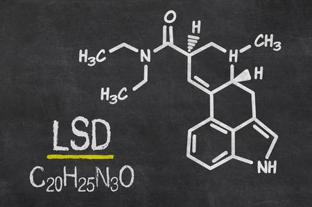 lsd: Blackboard with the chemical formula of LSD