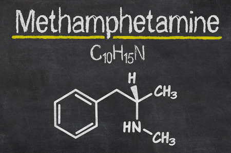 meth: Blackboard with the chemical formula of Methamphetamine Stock Photo