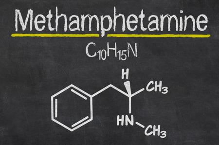 amphetamine: Pizarra con la f�rmula qu�mica de la metanfetamina