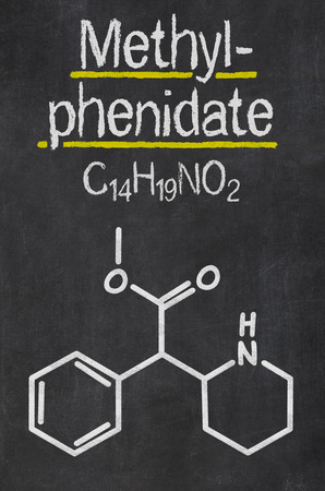 mph: Blackboard with the chemical formula of Methylphenidate