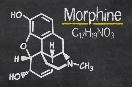morphine: Blackboard with the chemical formula of Morphine