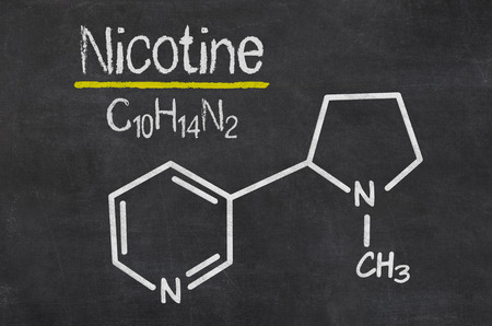 Blackboard with the chemical formula of Nicotine