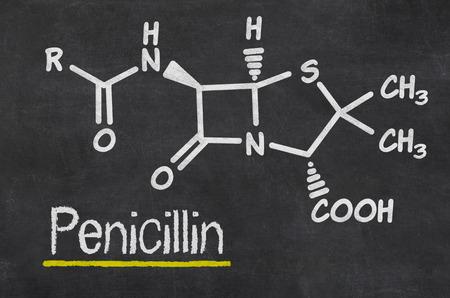 penicillin: Blackboard with the chemical formula of Penicillin
