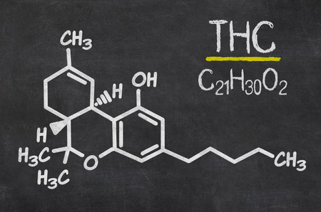 thc: Blackboard with the chemical formula of THC Stock Photo