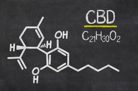 antioxidant: Blackboard with the chemical formula of CBD Stock Photo