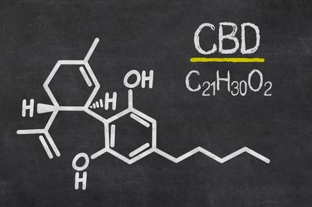 Blackboard with the chemical formula of CBD Archivio Fotografico