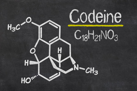 opiate: Blackboard with the chemical formula of Codeine Stock Photo