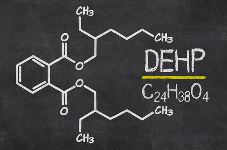 toxicity: Blackboard with the chemical formula of DEHP