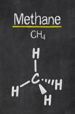 greenhouse gas: Blackboard with the chemical formula of Methane