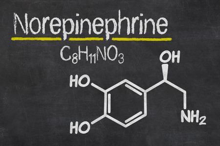 hypotension: Blackboard with the chemical formula of Norepinephrine