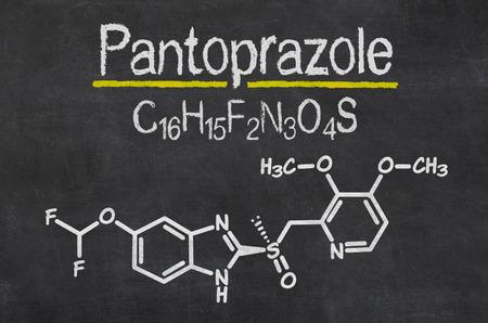 acid reflux: Blackboard with the chemical formula of Pantoprazole