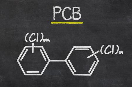 biphenyl: Blackboard with the chemical formula of PCB