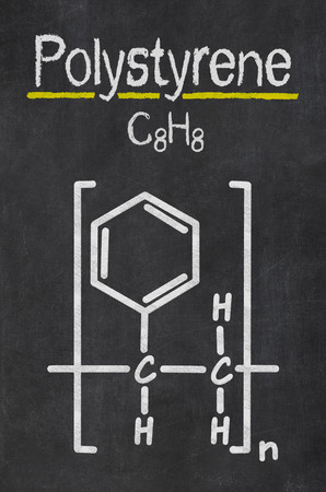 polystyrene: Blackboard with the chemical formula of Polystyrene Stock Photo