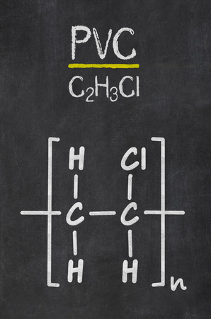 Blackboard with the chemical formula of PVC