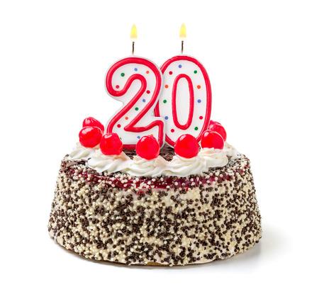 불타는 촛불 번호 20 생일 케이크 스톡 콘텐츠