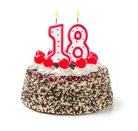 meses del a  ±o: Torta de cumpleaños con vela encendida número 18