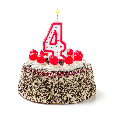 Number 4: Birthday cake with burning candle number 4 Stock Photo