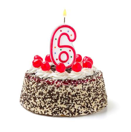 Birthday cake with burning candle number 6 Stock Photo